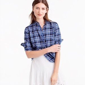J. Crew Ruffle Button Popover Shirt in Ocean Plaid